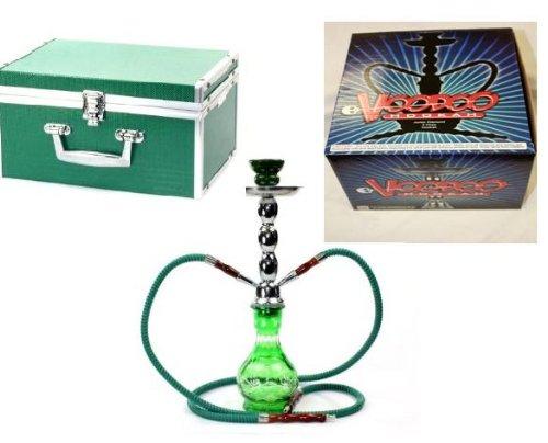 VooDooTM-18-Premium-Diamond-Design-2-Hose-Glass-Hookah-with-Travel-Case-Green
