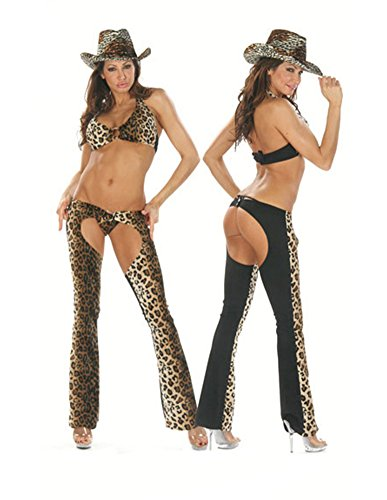 Sexy Chaps Cowgirl Costume With Animal Print