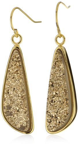 Marcia Moran Gold Druzy Stone Small Odd Drop 18k Gold-Plated Earrings