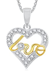 Meenaz Heart Pendant With Chain Silver Plated For Girls And Women PS385