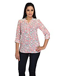 lol pink Color Floral Print Casual Top for women
