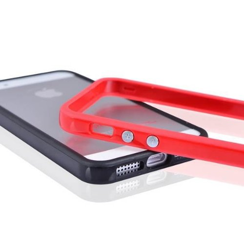 Red für iPhone 5S 5G TPU Gel Solide Stoßstange aus Metall Button Hülle