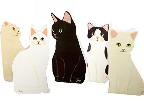 【Thousand Leafs】グリーティングカード ネコ 人気 メッセージカード かわいい 立体 オシャレ プレゼント 5種類 セット ハガキ 封筒付き ネコ好き 5種セット