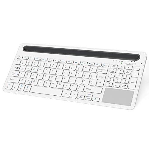 MoKo Bluetooth Tastiera, Multi-Device Dual-Channel Bluetooth 3.0 tastiera, con Docking e Touch Pad per Computer, Tablet e Smartphone, adatta a iOS(Mac), Android e Windows System, BIANCO e GRIGIO