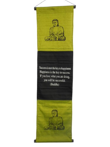 "Large Inspirational Banner/Scroll - Buddha Quote ""Success Is..."" - Olive Green"