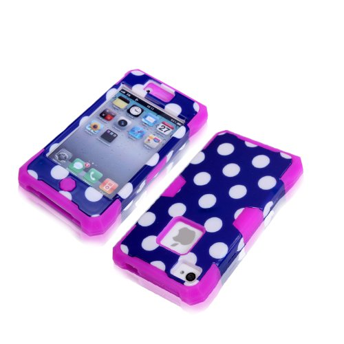 Magicsky Plastic + Silicone Hybrid Blue Polka Dot Pattern Active Glow Case For Apple Iphone 4 4S 4G - 1 Pack - Retail Packaging - Purple/Dark Blue