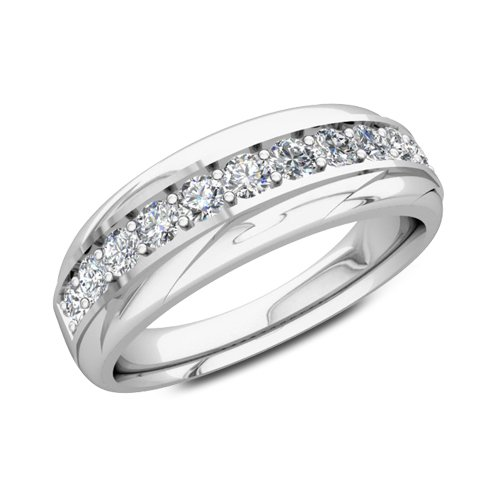 Pave Diamond Wedding Ring in Platinum Band (G, SI1, 0.33 cttw) 6mm, Certificate of Authenticity