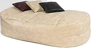 XXX-L HUGE 16cu FT CREAM FAUX LEATHER BEANBAG BED BEAN BAG SOFA BED