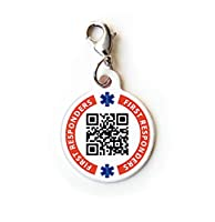 Dynotag® Web/GPS Enabled QR Code Smart Medical and Emergency Contact Information Charm Bracelet Tag - with Lobster Clasp from Dynotag