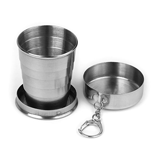 Stainless Steel Travel Camping Hiking Foldable Collapsible Cup with A Lobster Clip, Either on Your Belt Loop, Backpack or Jacket