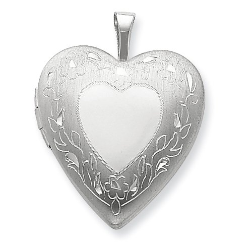 Sterling Silver 20mm Floral Border Heart Locket