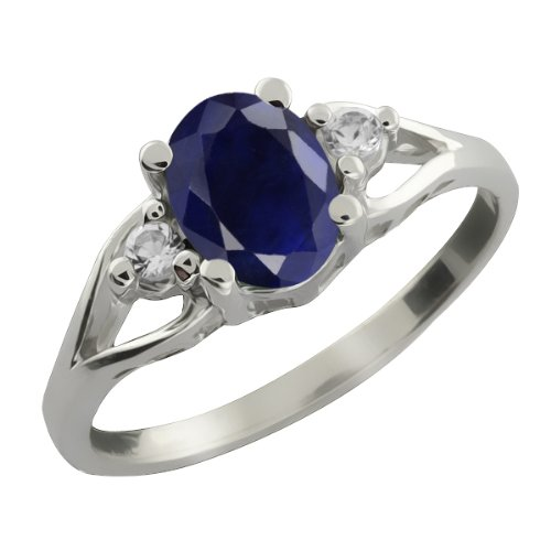 Oval Blue Sapphire & White Sapphire Gemstone 925 Sterling Silver Women's Ring