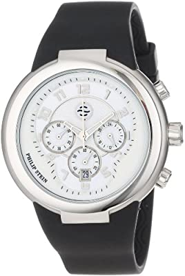Philip Stein Unisex 32-AW-RBB Active White and Black Chronograph Rubber Strap Watch