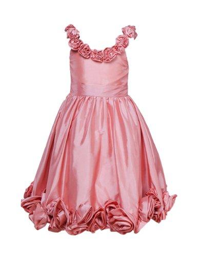 Honeystore Girl'S Scoop Flower Trimmed Satin 2014 Tea Length Flower Girl Dress Size Us10 Color Pink