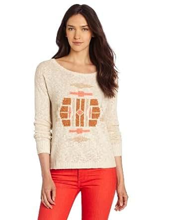 Lucky Brand Women's Intarsia Sweater Button Back, Nigori, X-Small at