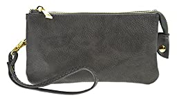PROYA Collection Classic Soft-Leather Mini All-in-one Wristlet Organizer Wallet (Gray)
