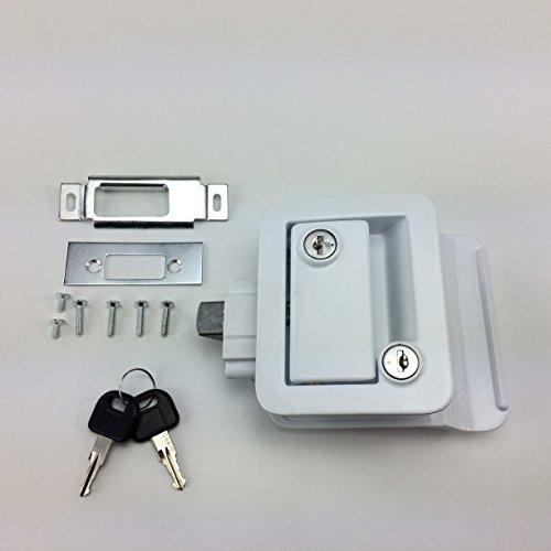 NEW RecPro WHITE RV CAMPER TRAILER MOTORHOME PADDLE ENTRY DOOR LOCK LATCH HANDLE KNOB DEADBOLT (Camper Door Entry Lock compare prices)