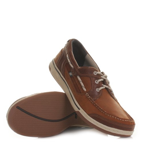 Mens Sebago Triton Three Eye British Tan Deck Shoe SIZE 6-11.5