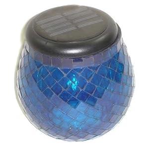 Smart Solar Glass Mosaic Solar T-Light, Iridescent Cobalt Blue