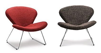 Poltrona PASSION relax lounge struttura cromata tessuto nero rosso grigio marrone