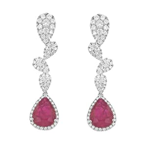 Ruby and Pave Diamond Dangle-Style Earrings