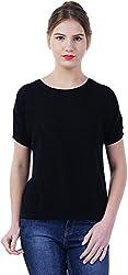 TSAVO Women's Regular Fit Top (1544_BLACK, Black, Small)