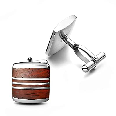 PenSee Mens Rare Cuff Link Stainless Steel & Red Wood Cufflinks-Various Styles