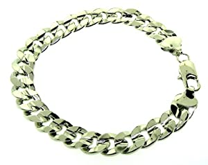 "LUXURY Cuban Curb Bracelet silver plated New 10mm 8"" Solid Bling"