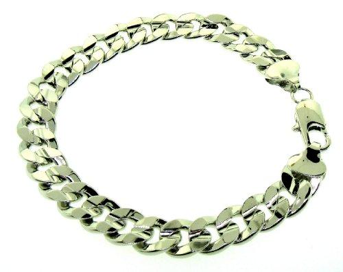 Luxury Cuban Curb Bracelet - Silver Plated - Men's - 10MM WIDE, 9