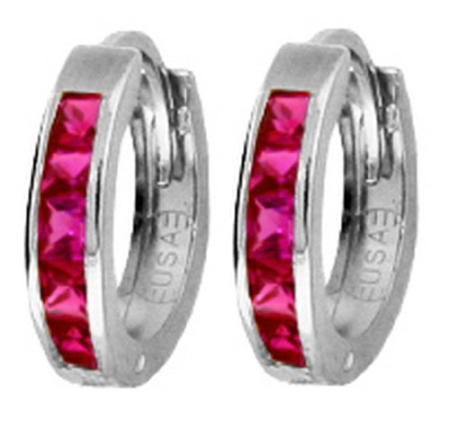 .925 Sterling Silver Hoop Earrings with Imitation Rubies