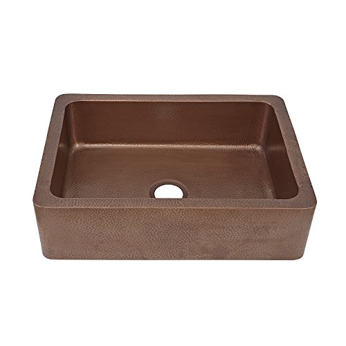 Apron Sink Cheap : Adams-Farmhouse-Apron-Front-Handmade-Copper-Kitchen-Sink-33-in-Single ...