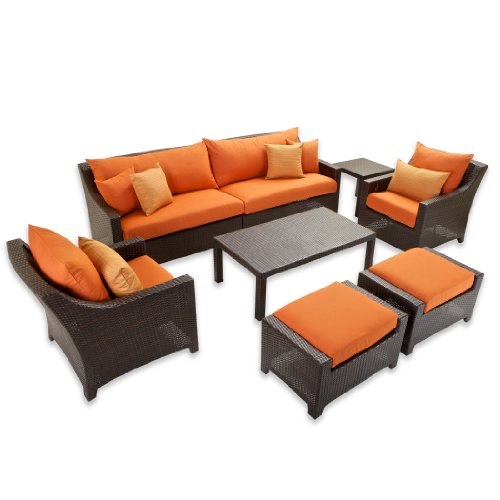 RST Brands OP-PESS7-TKA-K Tikka 8-Piece Sofa Club Chair and Ottomans Set image
