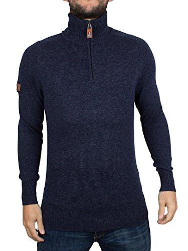 Superdry Uomo Harlo Henley Zip Knit, Blu, X-Large