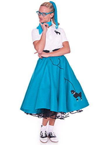 Hip Hop 50S Shop Adult 3 Piece Poodle Skirt Outfit - Large Teal Skirt, Polo And Scarf