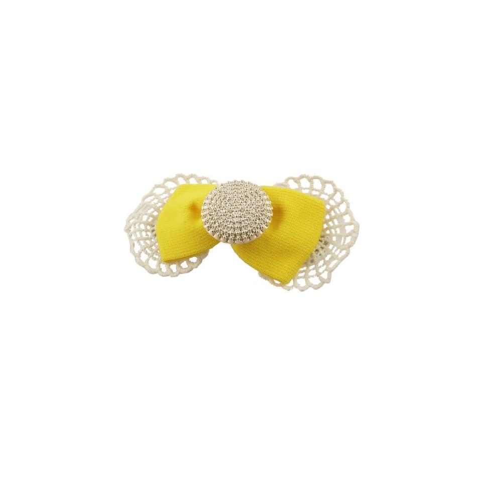 Yellow Bowknot Shape Spider Web Embellish Barrette Hair Clip for Women