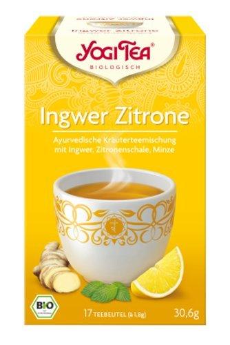 Yogi Tee, Ingwer- Zitrone-Tee Ayurvedische Teemischung, Biotee, erfrischend süß, Muntermacher, 17 Teebeutel, 30,6g