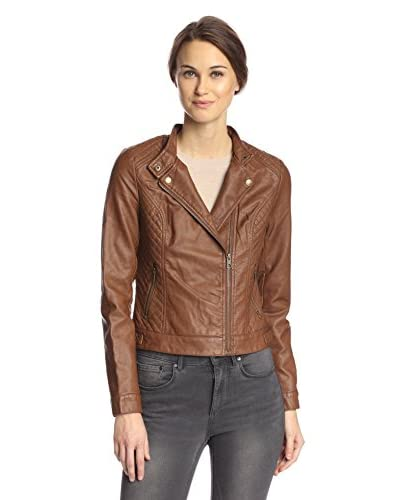 Coffeeshop Women's Faux Leather Moto Jacket with Quilting