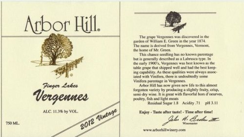 2012 Arbor Hill Grapery & Winery Vergennes 750 Ml