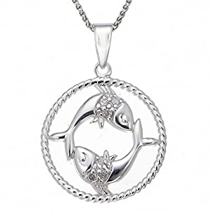 Sterling Silver Diamond Zodiac with Pisces Pendant Necklace (1/10cttw, J-K Color, I3 Clarity), 18