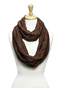 Plum Feathers Elegant Solid Color Infinity Loop Jersey Scarf