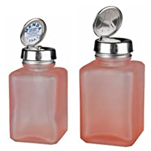 Menda 4oz Pure Touch and 6oz One Touch Square Frosted Glass Bottles Kit with Stainless Steel Closure