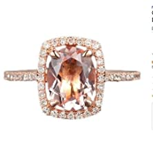 buy Oval Morganite Engagement Ring Pave Diamond Wedding 14K Rose Gold 7X9Mm Claw Prongs Cushion Halo