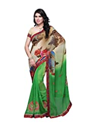 Aaliyah Women's Georgette Saree With Blouse Piece(Green) - B00XL9KN68