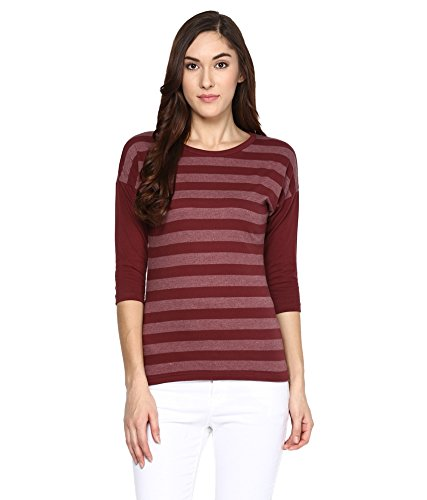 Hypernation-Maroon-Stripe-Round-Neck-Cotton-T-shirt