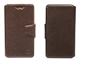 J Cover Kenger Series Leather Pouch Flip Case With Silicon Holder For BLU Quattro 4.5 Brown