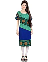 Lookslady Bollywood Fashion Green Half Sleeve Floral Print Polyester Casual Wear Boat Neck Long Designer ReadyMade...