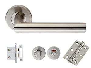 Eurospec Mitred Lever Door Handle Bathroom Privacy Lock Latch Pack Set Bundle Csl1192