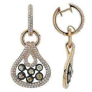 Rose Cut White and Brown Diamond Designer Earrings In 18K Rose Gold