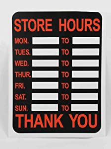 Hours time shop window door sign store timings board card office