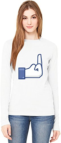 Middle Finger Fuck You T-Shirt da Donna a Maniche Lunghe Long-Sleeve T-shirt For Women| 100% Premium Cotton| DTG Printing| XX-Large